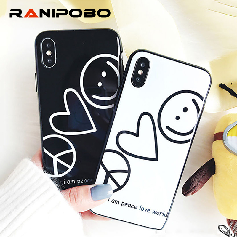 Glossy Smiley face Love Heart Painted Lovely Phone Case For iPhone X 6 6S Plus 7 7Plus 8 8Plus Fashion Soft TPU words Back Cover