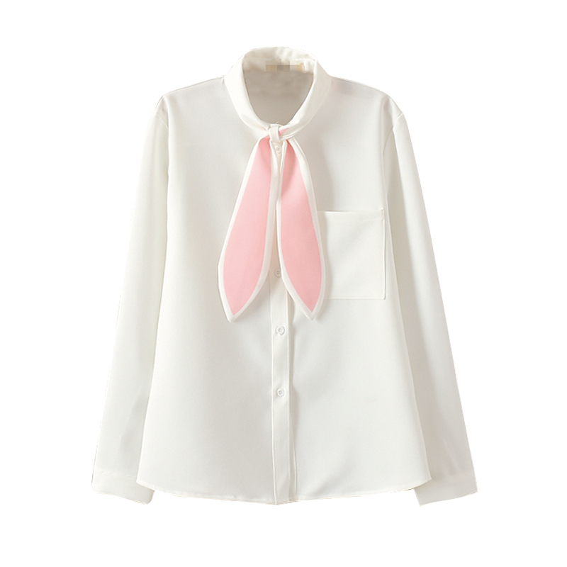 Lovely Japanese Long Rabbit Ears Blouse Shirts JK Uniform Student Girls Solid Blouses Pink Sweet Shirts