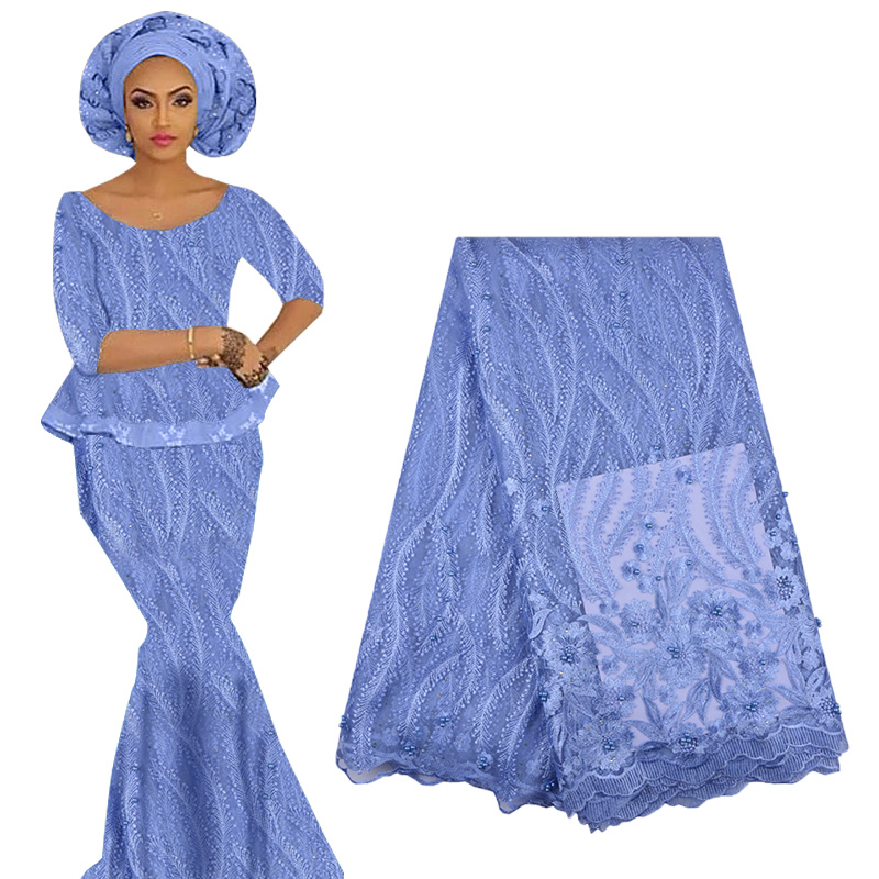 2019 Best Selling African Lace Fabric Flower Embroidery Nigerian Lace Swiss Voile Lace High Quality French Tulle Lace With Beads
