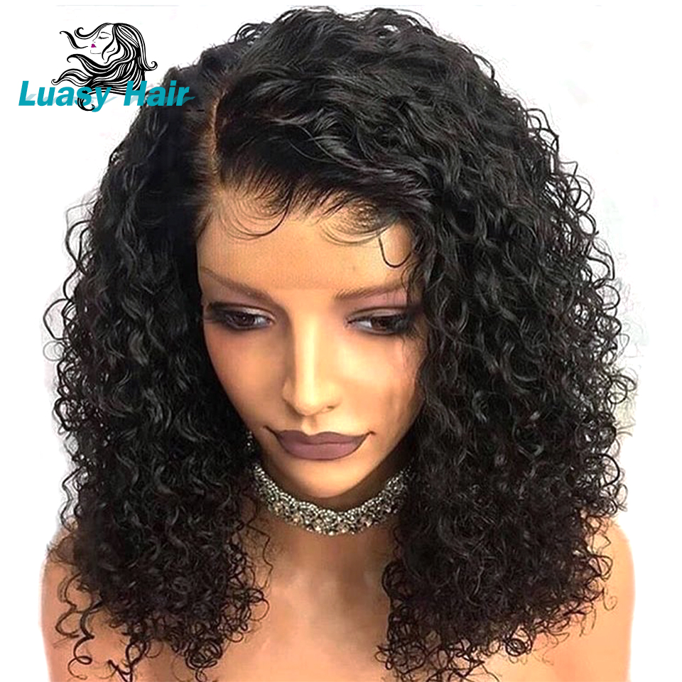 Luasy Short Curly Lace Front Human Hair Wigs For Black
