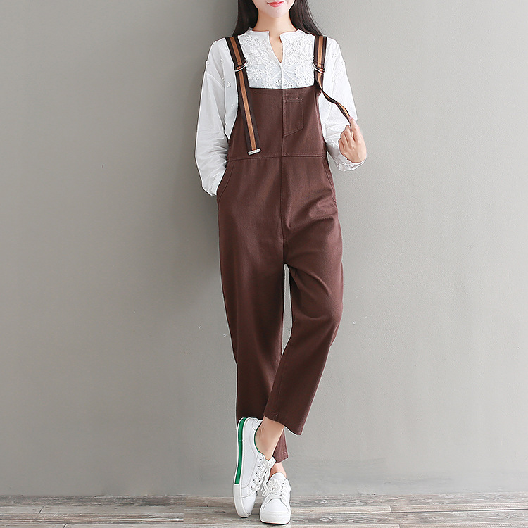 Spring New Arrival Women Casual 2018 Coffee Color Strapless Braces Denim Overalls Pockets Dungarees Stretch Romper Jeans Pants