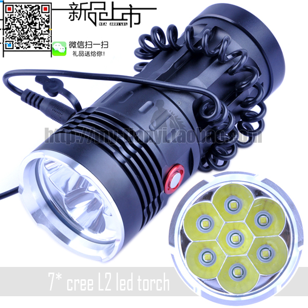 CREE 7x XM-L T6 LED High Power Light 10000 Lumens Water-Resistant & Super Bright Torch Flashlight (Direct charge / car charger) 10000 lumens super bright led flashlight torch aluminum waterproof 7 x cree xml t6 led flash light
