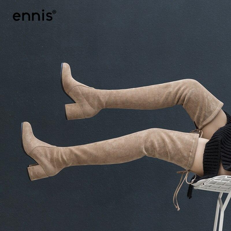 ENNIS 2019 Flock Stretch Über Das Knie Stiefel High Heels Herbst Winter Lace Up Schuhe Frauen Kniehohe Stiefel Schwarz mode NEUE L817-in Überknie-Stiefel aus Schuhe bei  Gruppe 1