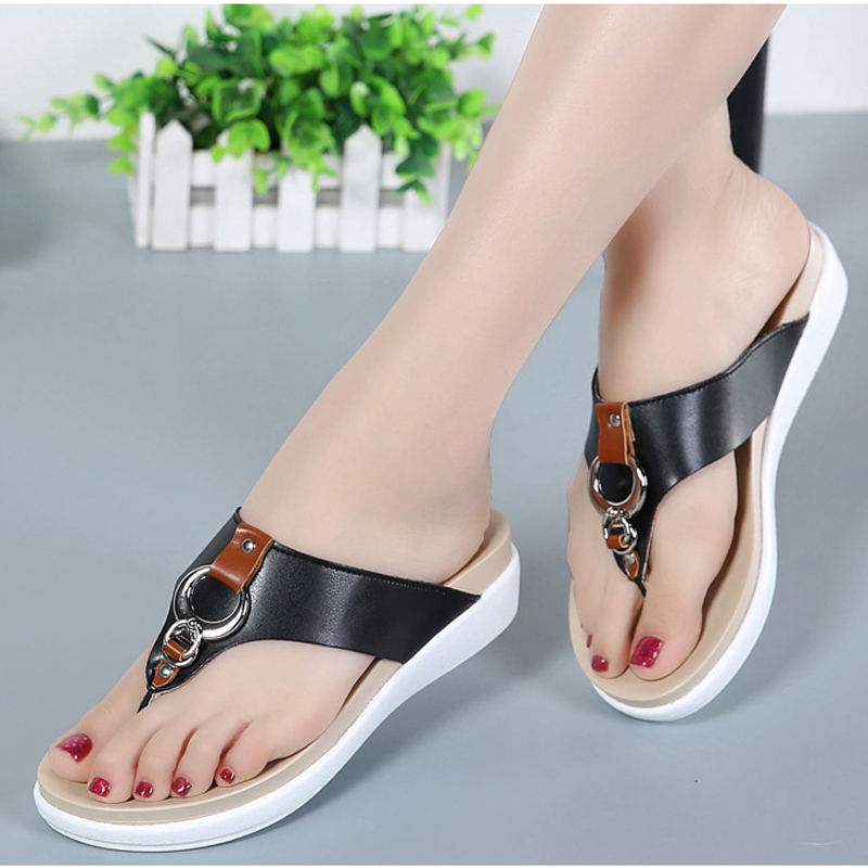 Women flip flops 2019 platform slippers women genuine leather sandals summer flat beach sandal big size 35 - 43 big toe sandal