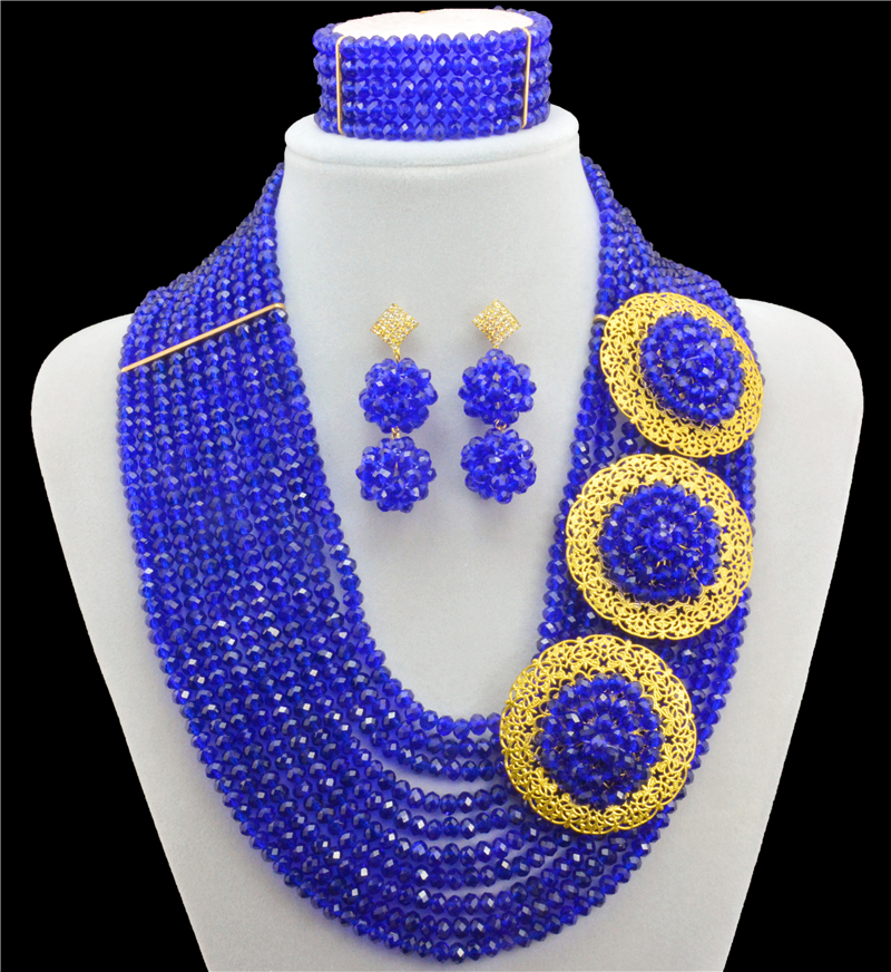2016 Arrival Royal Blue African Beads Jewelry Sets Nigerian Wedding Bridal Indian Beads Jewelry Sets Crystal Beads Necklace Sets fashion nigerian wedding bridal indian beads jewelry set african beads crystal beads balls jewelry sets hd3748