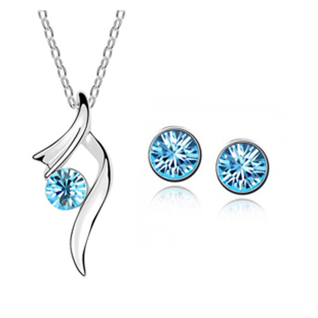 (Min order $10 mix)  wholesale Austria Crystal wedding jewelry sets  Necklaces Stud Earrings   Bridal Jewelry for Women 008+005