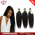 7A Brazilian Virgin Hair Kinky Straight Knots 3Pcs Brazilian Hair Bundles Yaki Brazilian Straight Coarse Yaki Human Hair Weaving
