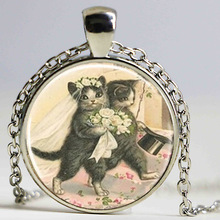 Free shipping Vintage Cat Groom and Bride Couple Art Necklace, Cat Jewelry, Wedding Jewelry Photo Pendant Dome Pendant HZ1