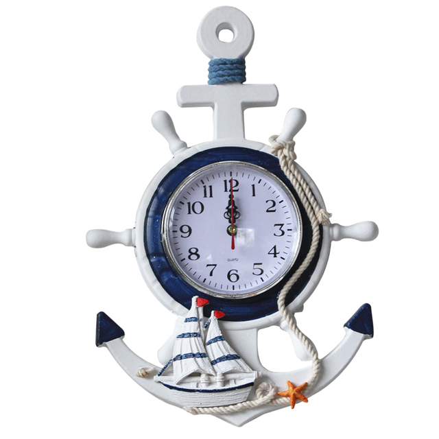 OULII Anchor Clock Beach Sea Theme Nautical Ship Wheel Rudder Steering Wheel Decor Wall Hanging Decoration