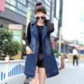2017 Spring Summer Fashion Denim Women Vest Waistcoat Casual Cowboy Blue Long Denim Vest Waistcoat Sleeveless Jacket Plus Size