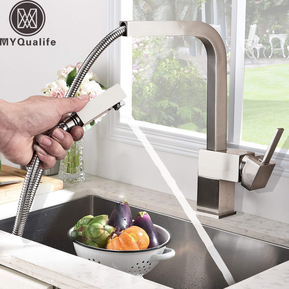 Square Pull Out Kitchen Faucet Brushed Nickel Kitchen Mixers Deck Mounted Bathroom Kitchen Hot cold Water Faucet Black Taps deck mounted nickel brushed kitchen sink faucet 75cm height bathroom kitchen hot and cold water mixer taps