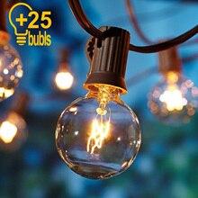 25Ft G40 żarówka Globe girlandy żarówkowe na energię słoneczną z żarówka przeźroczysta podwórko oświetlenie Patio Vintage żarówki dekoracyjna zewnętrzna girlanda ślubna
