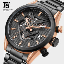 Rose Gold Watch Men Black T5 Quartz Chronograph Man Watch Waterproof Top Brand Luxury Mens Watches Relogio Masculino Wristwatch(China)