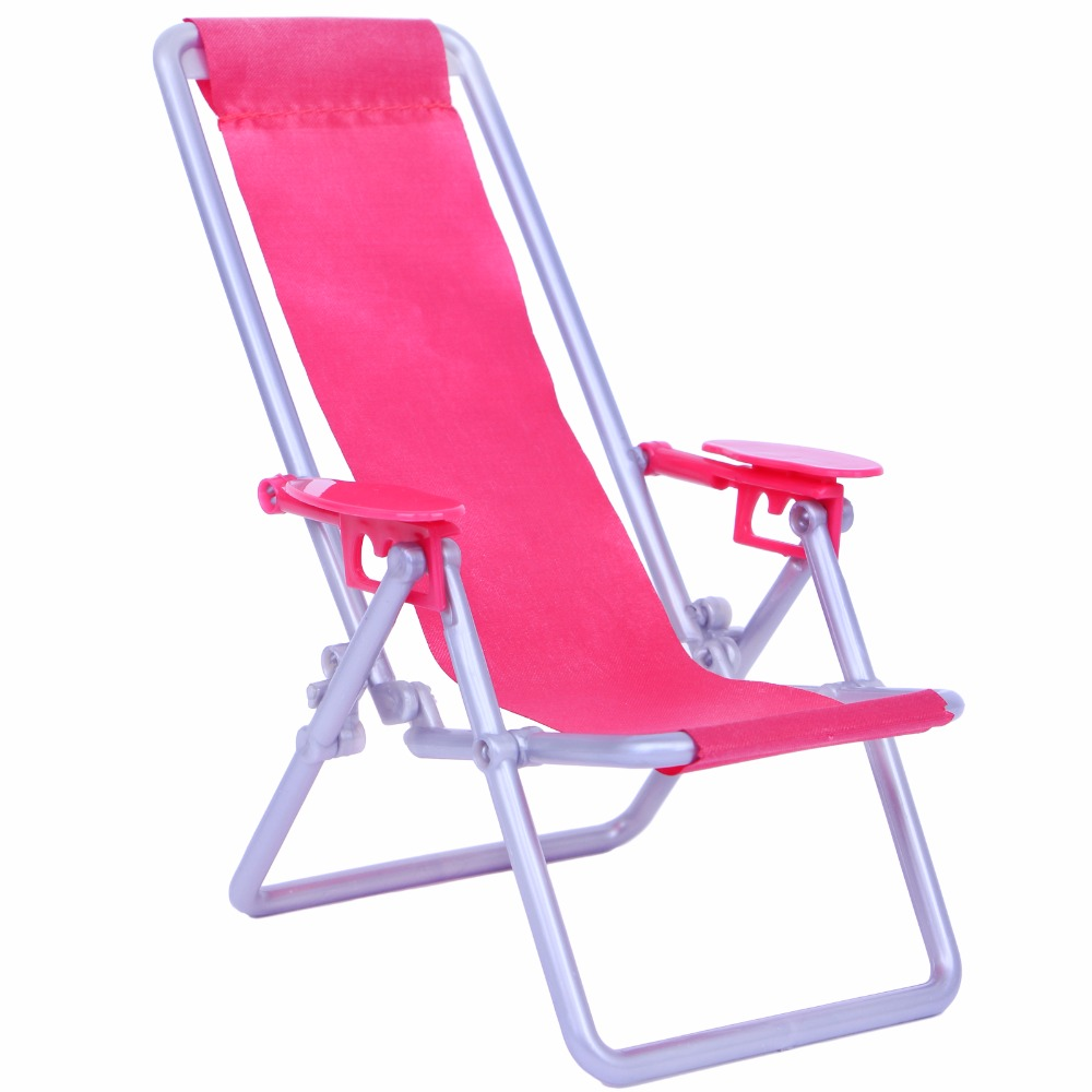 Fashion Miniature 1:12 Scale Hot Pink Foldable Plastic Beach Chair Deck Mini Garden Lovely Furniture For Blythe Doll Accessory