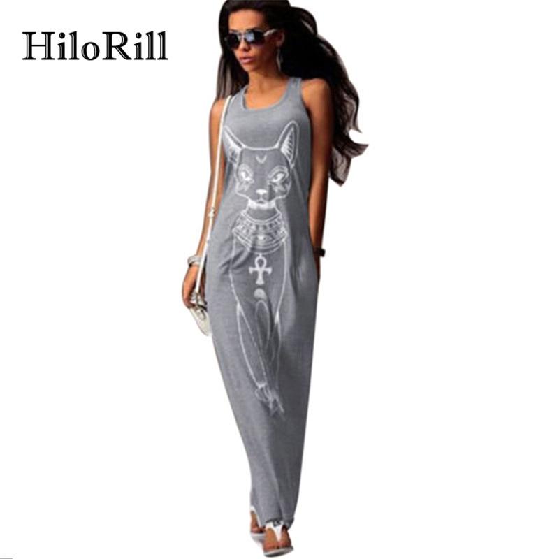 HiloRill Cat Print Long Maxi Dress Women 2018 Summer Boho Beach Bodycon Dress Elegant Evening Party Dresses Tunic Vestidos S-XL