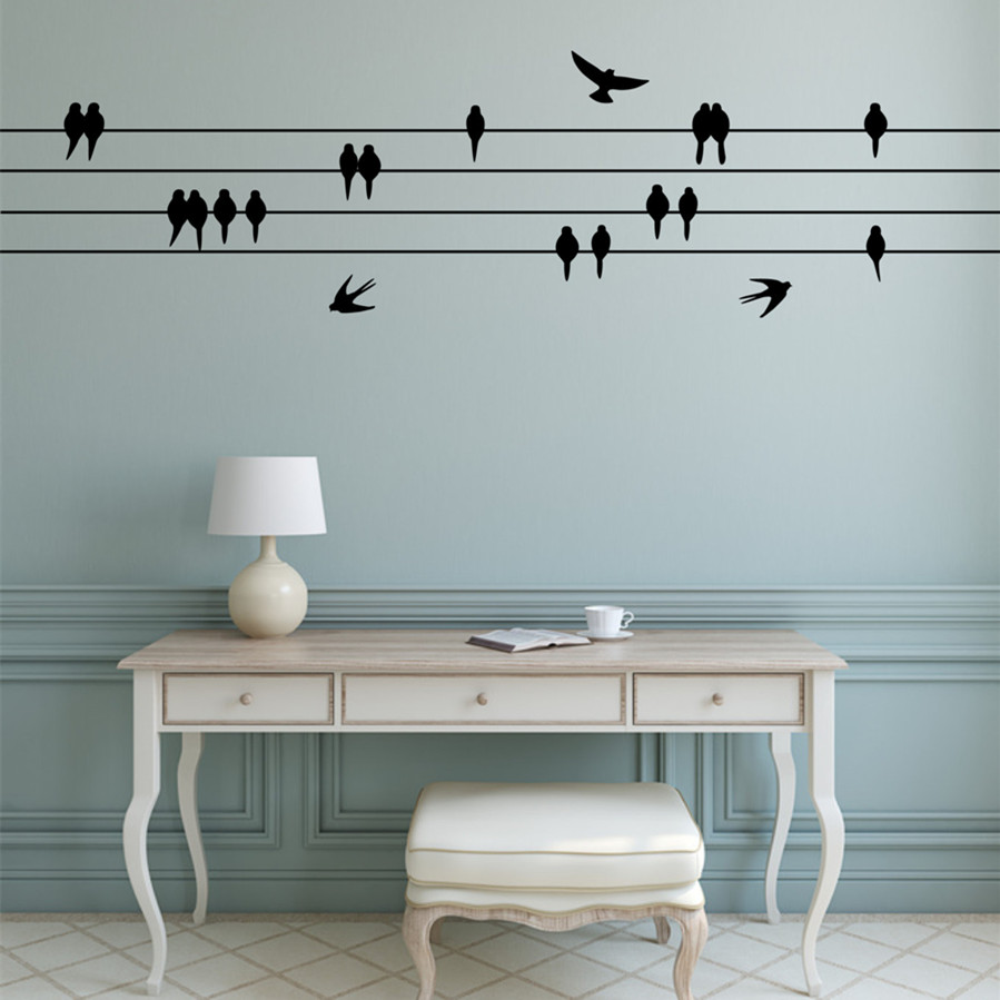 Perched Birds Wall Sticker Sitting Flying Birds Wall Decal Flying wall decor for living room Flock of birds on wire T170301
