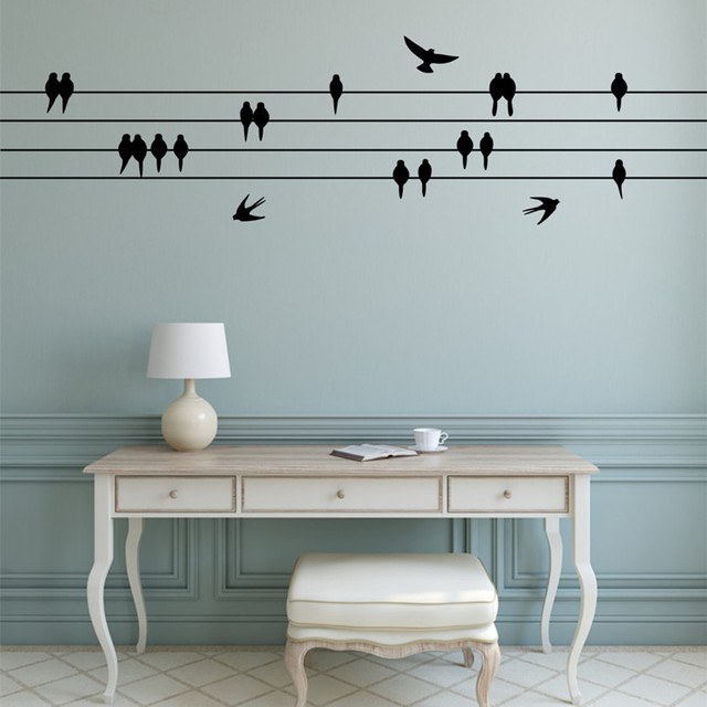 Perched Birds Wall Sticker Sitting Flying Decal Decor For Living Room Flock