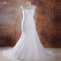 RSW961 Yiaibridal Real Job Photos Nigeria Pleated Crystal Beaded Embroidery Best Curvy Wedding Dress Plus Size