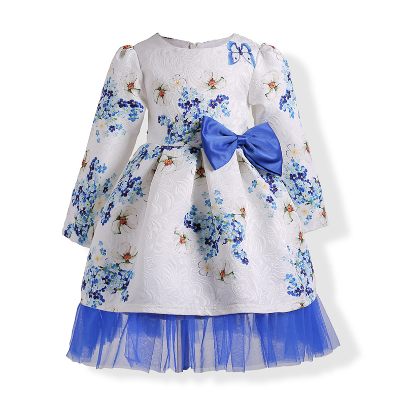 Baby Girls Party Dress Wedding Birthday Bow Lace Floral Dresses 2017 New Arrival Princess Clothing Jacquard Age For 3-10Y GD07 dresses for girls wedding dress charistmas dresses birthday kids baby girl clothes princess dress new year party clothing gh334