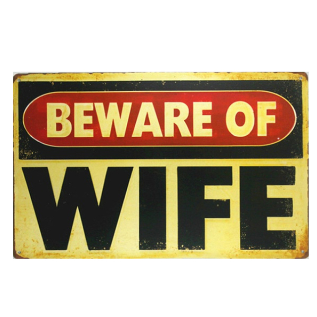 Vintage Home Decor Beware of Wife Vintage Metal Sign Tiger Wall Art ...