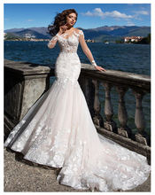 Long Sleeves See Through Neck Appliqued Lace Wedding Dresses 2019 Mermaid/Trumpet Train Illusion Sexy bridal gown dress White khaki see through lace round neck long sleeves top