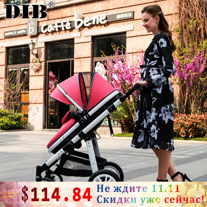 DIB lightweight portable folding baby stroller landscape infant newborn baby can sit lie four light carts luxury baby stroller high landscape baby carriage for newborn infant sit and lie four wheels
