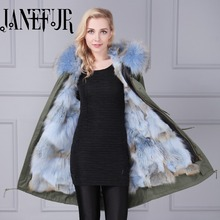 Wholesale real fox fur parka winter coat long sleeve with hooded army coat with real fur lining long jacket online sale
