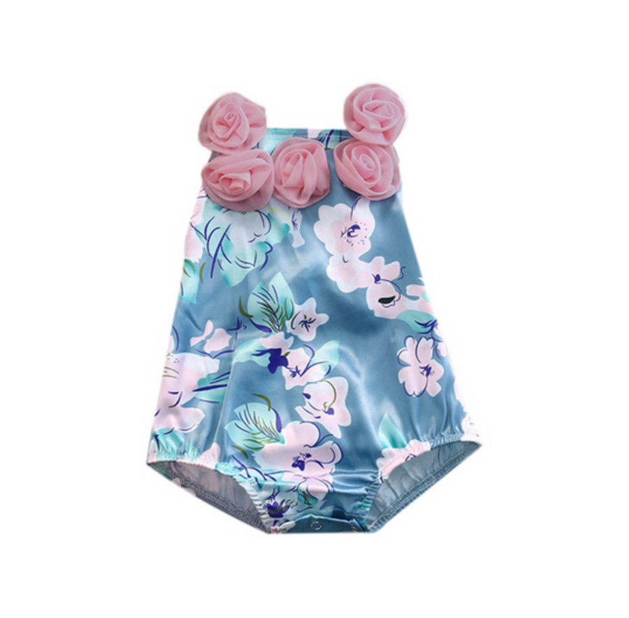 Cute Newborn Infant Baby Girl Collar Jumpsuit Outfit  Newborn Baby Girls Floral Romper Sleeveles Summer Cotton puseky 2017 infant romper baby boys girls jumpsuit newborn bebe clothing hooded toddler baby clothes cute panda romper costumes