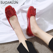 SUOJIALUN Women Shoes Woman PU Leather Flat Shoes Casual Slip On Round Toe Loafers Ballet Flats New Fashion Women Chaussure 2018 new genuine leather flat shoes woman ballet flats loafers cowhide flexible spring casual shoes women flats women shoes k726