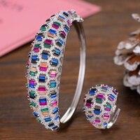 GODKI Luxury Spring Jewelry Sets For Women Wedding Zircon Crystal CZ Qatar Bridal Bangle Ring Sets aretes de mujer modernos 2019