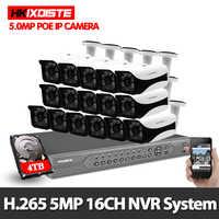 Sistema de Vigilancia 16CH 5.0MP cámara de seguridad exterior 16CH 8CH 4K CCTV POE NVR 4TB HDD Kit de videovigilancia fácil Vista Remota