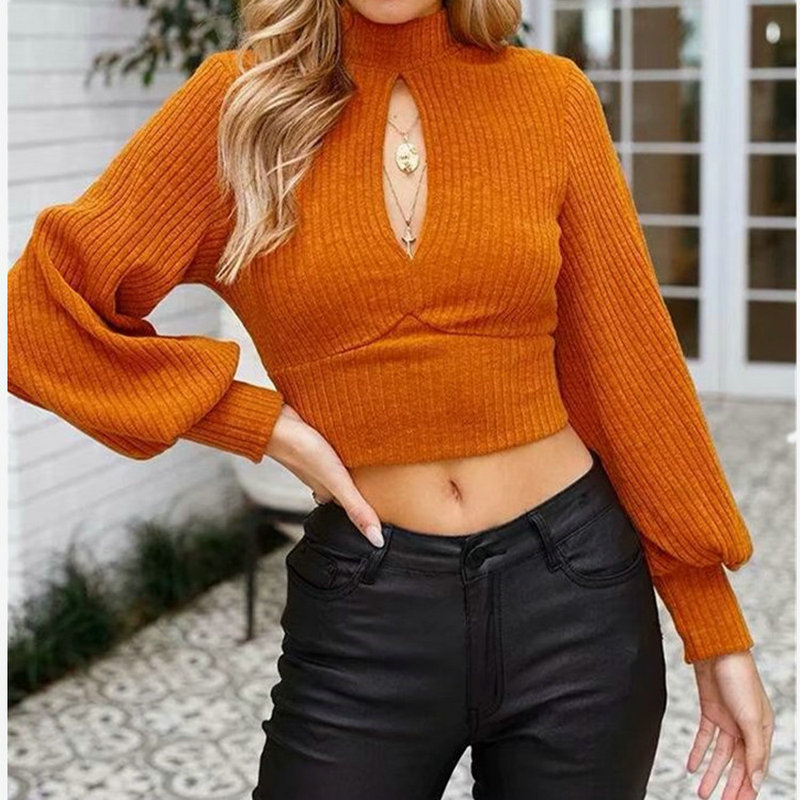 New Women Shirt Half High Collar Hollow Short Cropped Long sleeves Backless Lace up Sexy Shirt Fashion Spring Autumn Blusa