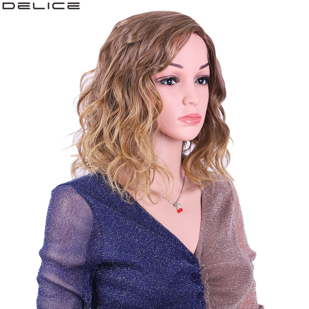 Delice Women's Short Curly Ombre Wig Side Part Synthetic Kinky Curl Cosplay Brown Blonde Full Wigs