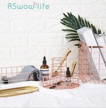 Cesta de armazenamento de ferro forjado rosa ouro storages caneta titular desktop sundries cesta frutas para armazenamento em casa