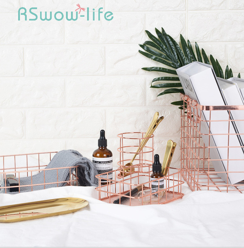 Wrought Iron Storage Basket Rose Gold Storages Pen Holder Desktop Sundries Basket Fruit Basket For Home Storage-in Storage Baskets from Home & Garden