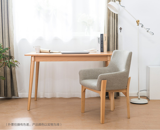 Simple North European Style Solid Wood Dining Chair Modern Single Casual Wooden Fabric