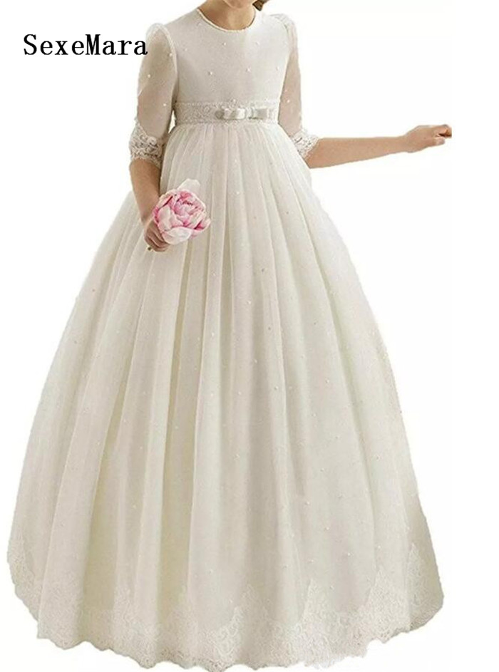 Ivory White Flower Girl Dresses O-neck Appliques Ball Gown Pageant Dresses Communion Gown for Wedding Custom Made Vestido lovely purple ball gown long flower girl dresses for wedding custom made girls pageant gown