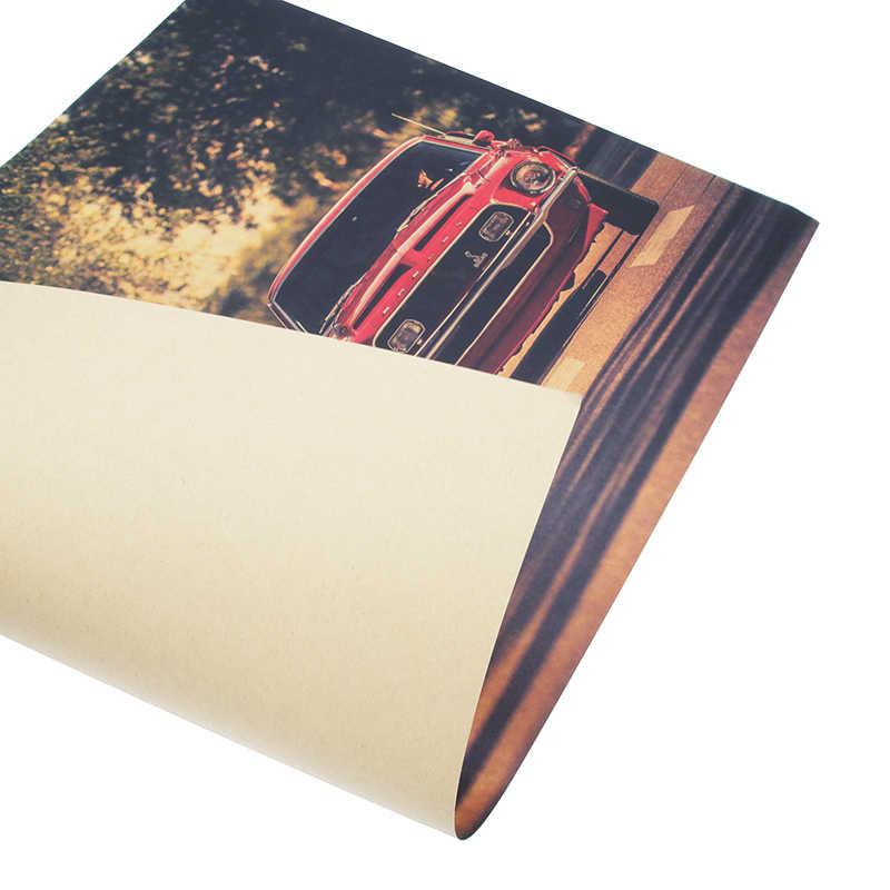 DLKKLB Klassische Film Vintage Poster Schöne Mädchen und Racing Vintage Kraft Papier Bar Cafe Home Decor Malerei Kunst Wand Aufkleber