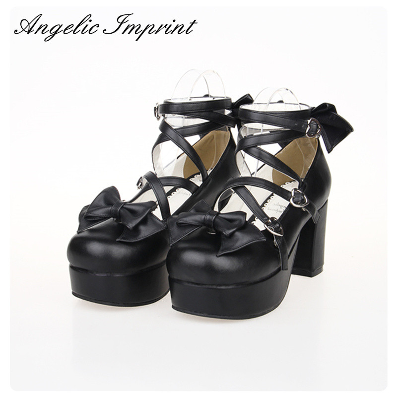8cm Chunky Heel Black Leather Strappy Lolita Shoes Sweet Bow Round Toe Platform Pumps High Heels