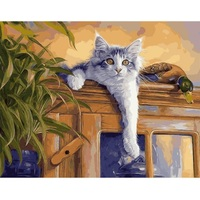 Framed Picture Painting By Numbers Abstract Animal Cat DIY Oil Painting On Canvas Home Decoration For