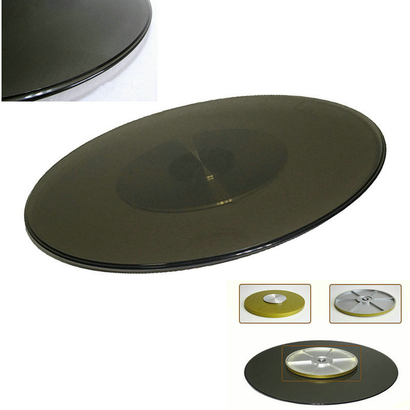 HQ TY01 UPGRADE Tempered Tawny Color Glass Turntable Lazy Susan Dining Table One Piece With Fiberglass Base Swivel Plate