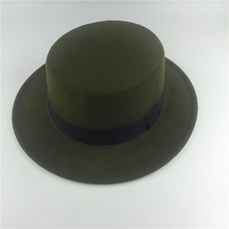 NOVA Moda verde preto Disquete chapéu de Feltro Do Vintage Top Sólida  Outono Inverno para As Mulheres Chapéu Panamá Fedora Trilby Derby Cap em  Fedoras de ... 6f441350fd1