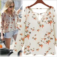 Nice Summer Autumn Style Nice v-neck Tether Long Sleeve Color Dove Printing Chiffon Shirts WoMen Clothing blouse&shirts