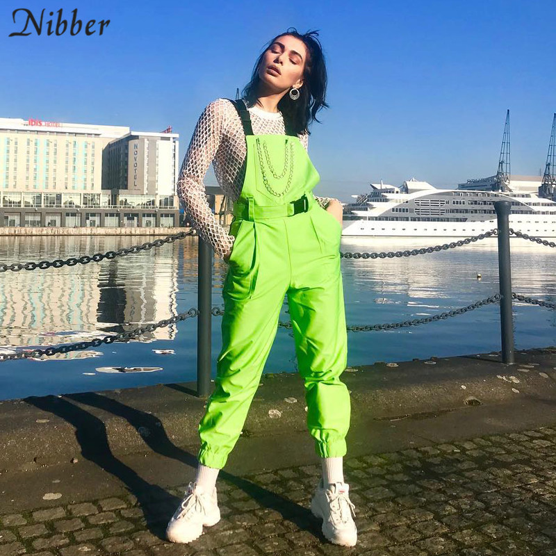Nibber Bib-Pants Playsuits Street Black Green Fluorescent Casual Women's Ladies Solid title=