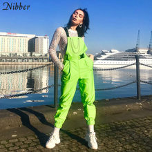 Nibber Fluorescent green Bib pants women's Street black casual pants playsuits 2019spring hot sale ladies Solid Full jumpsuits(China)