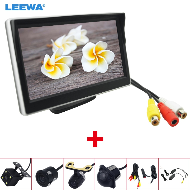 LEEWA 5 LCD TFT Stand alone Monitor With Rear View Backup Camera RCA Video Rearview System 2.4G Wireless & Cigarette Lighter