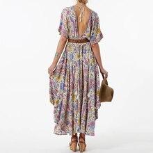 f8ea057e7 Boho estampado Floral vestido largo Retro bohemio Maxi vestido Sexy étnicos profundo  V-cuello vestidos playa Hippie traje