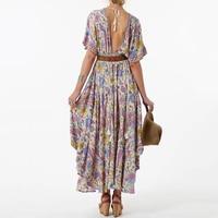 Boho Floral Print Long Dress Retro Bohemian Maxi Dress Sexy Ethnic Deep V Neck Beach Dresses Hippie Robe