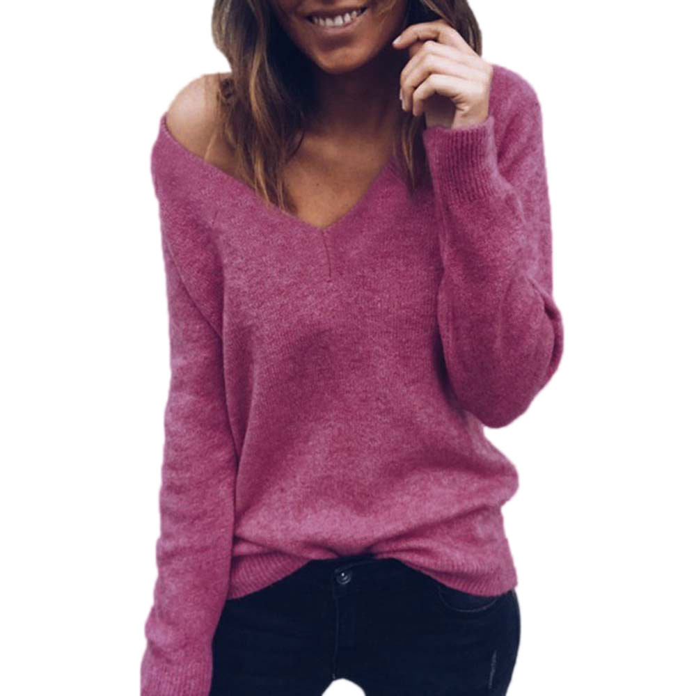 Women Slim Fit Cotton Knitted Sweater Jumper Ladies Long Sleeve Pullover Top