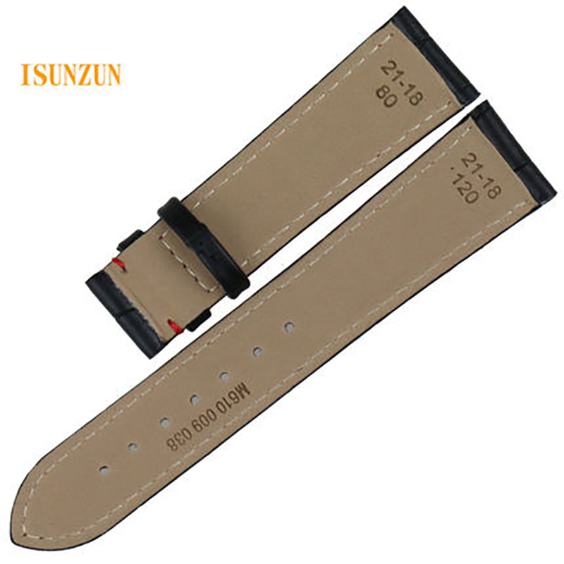 ISUNZUN 21mm Watch Band For Mido M016 430 M021 431 Genuine Leather Watch Straps for MIDO Commander Waterproof Durable Bracelet in Watchbands from Watches